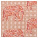 Mandala flower elephant - coral orange and white fabric