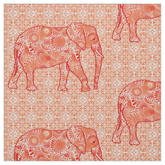 Mandala flower elephant - coral orange and white fabric