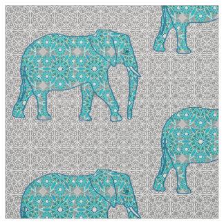Mandala flower elephant - turquoise, grey & white fabric