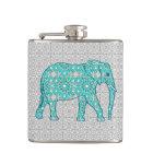 Mandala flower elephant - turquoise, grey & white hip flask