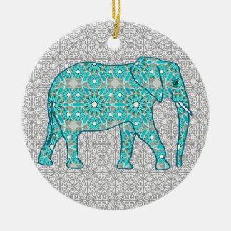Mandala flower elephant - turquoise, grey & white christmas ornament