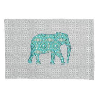 Mandala flower elephant - turquoise, grey & white pillowcase