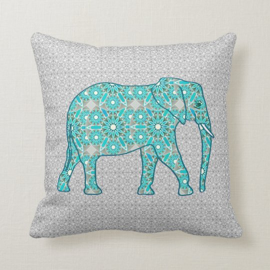 Mandala flower elephant - turquoise, grey & white throw pillow