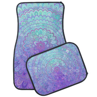 Mandala Flower in Light Blue and Purple Car Mat