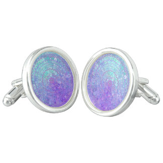 Mandala Flower in Light Blue and Purple Cuff Links