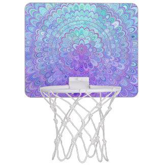 Mandala Flower in Light Blue and Purple Mini Basketball Hoop