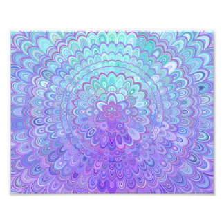 Mandala Flower in Light Blue and Purple Photo Print