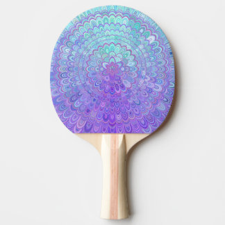 Mandala Flower in Light Blue and Purple Ping Pong Paddle