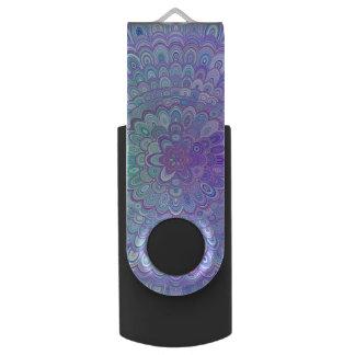 Mandala Flower in Light Blue and Purple USB Flash Drive