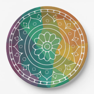 Mandala flower in rainbow low poly colourful paper plate