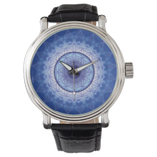 mandala flower of life blue watch