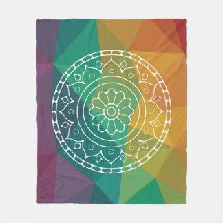 Mandala flower on modern low poly rainbow colours fleece blanket