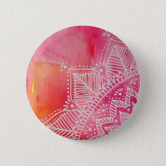Mandala flower on watercolor background - pink 2 inch round button