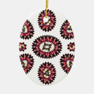 Mandala Flower Pattern Ceramic Oval Ornament