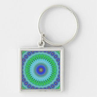 Mandala fractal Silver-Colored square keychain