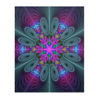 Mandala From Center Colorful Fractal Art With Pink