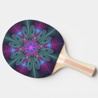 Mandala From Center Colorful Fractal Art With Pink Ping Pong Paddle