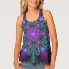Mandala From Centre Colourful Fractal Art With Tank Top