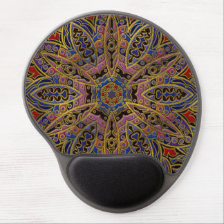 Mandala Gold Embossed on Faux Leather Gel Mouse Pad