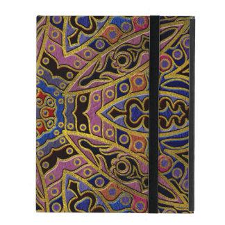 Mandala Gold Embossed on Faux Leather iPad Folio Case
