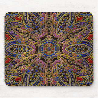 Mandala Gold Embossed on Faux Leather Mouse Pad