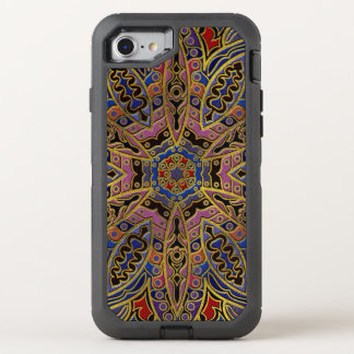 Mandala Gold Embossed on Faux Leather OtterBox Defender iPhone 8/7 Case
