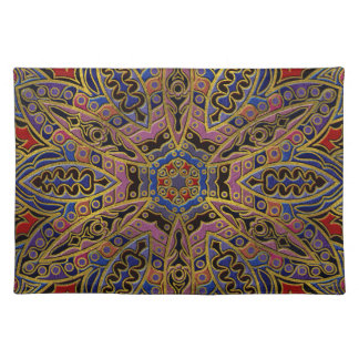 Mandala Gold Embossed on Faux Leather Placemat