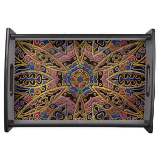 Mandala Gold Embossed on Faux Leather Serving Tray