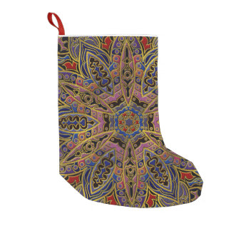 Mandala Gold Embossed on Faux Leather Small Christmas Stocking