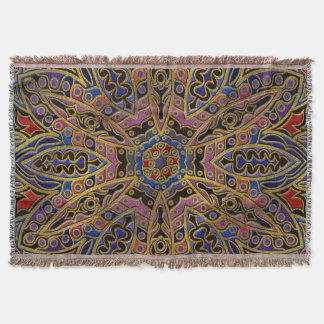 Mandala Gold Embossed on Faux Leather Throw Blanket