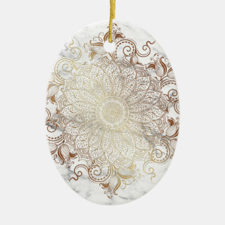 Mandala - Gold & Marble Ceramic Ornament