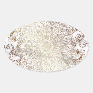 Mandala - Gold & Marble Oval Sticker