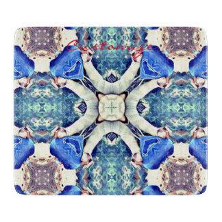 mandala hearts pattern blue cutting board