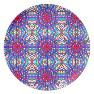Mandala In Blue And Fuchsia - Tiled Plate