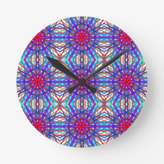 Mandala In Blue And Fuchsia - Tiled Wall Clocks