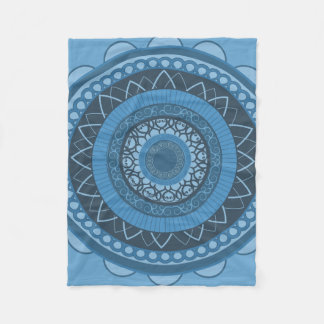 Mandala in Blue Fleece Blanket