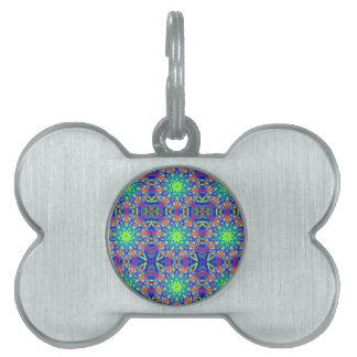 Mandala In Green And Blue Pet Name Tag