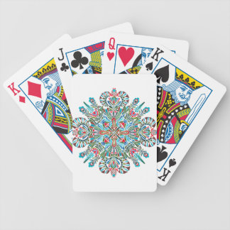 Mandala in green red and light blue bicycle playing cards