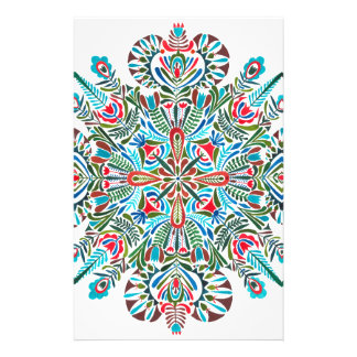 Mandala in green red and light blue stationery