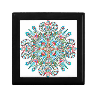 Mandala in green red and light blue trinket boxes