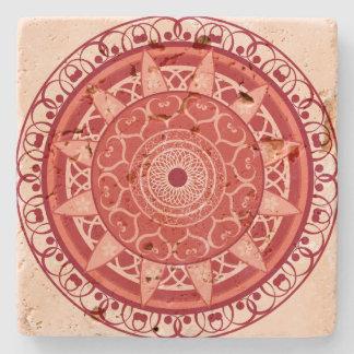 Mandala in Red Stone Coaster