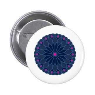 Mandala Inspired Dark Blue Flower 2 Inch Round Button