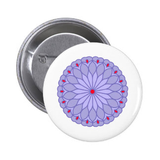 Mandala Inspired Lavender Flower 2 Inch Round Button