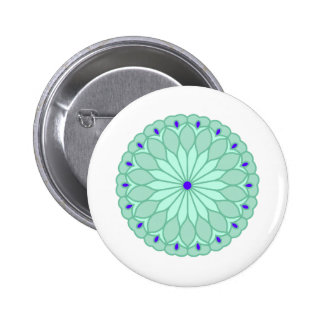Mandala Inspired Pale Blue Flower 2 Inch Round Button