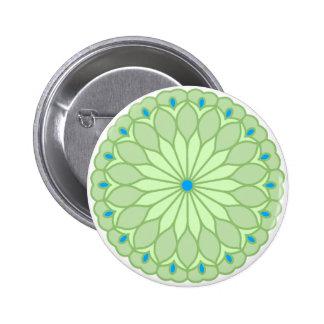 Mandala Inspired Pale Sage Flower 2 Inch Round Button