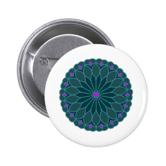 Mandala Inspired Teal Blue Flower 2 Inch Round Button