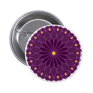 Mandala Inspired Violet Flower 2 Inch Round Button