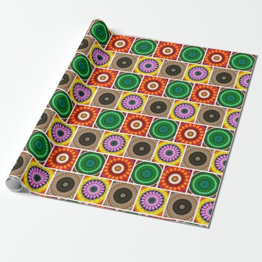 Mandala kaleidoscope pattern wrapping paper