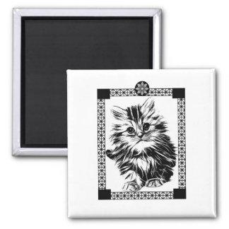 Mandala Kitty Refrigerator Magnet- Kitchen Decor Square Magnet