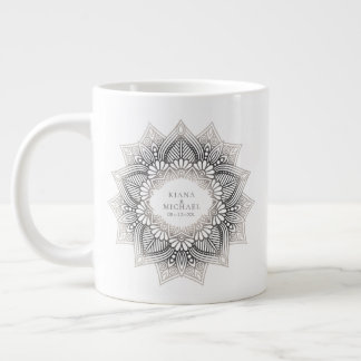 Mandala Lace Wedding Neutrals ID478 Large Coffee Mug